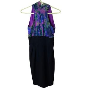 Eliza J Tie Back Neck Silk Watercolor Halter Sheath Dress Size 2P